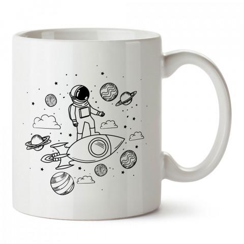Galaksi Astronot ve Roket tasarım baskılı kupa bardak (mug bardak). Uzay ve galaksi desenleri sevenlere hediye. Astronot baskılı kupa. Uzay meraklılarına hediyelik.
