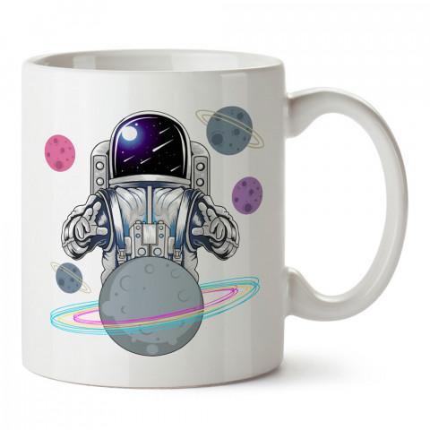 Kahin Astronot Gezegen Uzay tasarım baskılı kupa bardak (mug bardak). Uzay ve galaksi desenleri sevenlere hediye. Astronot baskılı kupa. Uzay meraklılarına hediyelik.