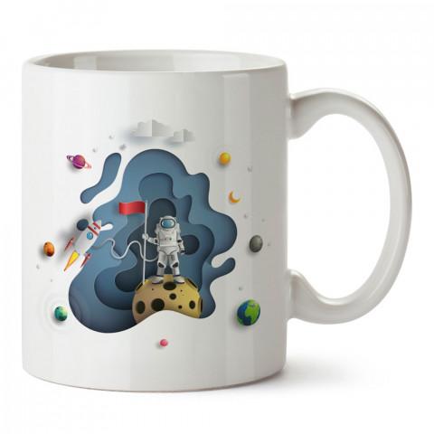 Evren İlüstrasyon Uzay tasarım baskılı kupa bardak (mug bardak). Uzay ve galaksi desenleri sevenlere hediye. Gezegenler baskılı kupa. Uzay meraklılarına hediyelik.