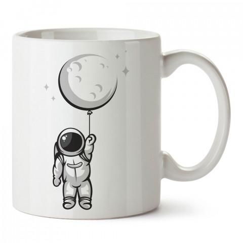 Balon Ay Astronot tasarım baskılı kupa bardak (mug bardak). Uzay ve galaksi desenleri sevenlere hediye. Gezegenler baskılı kupa. Uzay meraklılarına hediyelik.