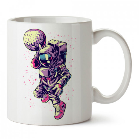 Basketçi Astronot tasarım baskılı kupa bardak (mug bardak). Uzay ve galaksi desenleri sevenlere hediye. Gezegenler baskılı kupa. Uzay meraklılarına hediyelik.