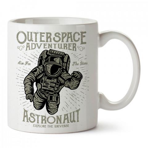Yıldızları Hedefleyin Astronot tasarım baskılı kupa bardak (mug bardak). Uzay ve galaksi desenleri sevenlere hediye. Gezegen baskılı kupa. Uzay meraklılarına hediyelik.