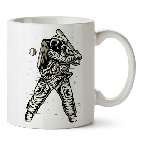 Beyzbolcu Astronot tasarım baskılı kupa bardak (mug bardak). Uzay ve galaksi desenleri sevenlere hediye. Ay ve gezegen resimli kupa. Uzay meraklılarına hediyelik.