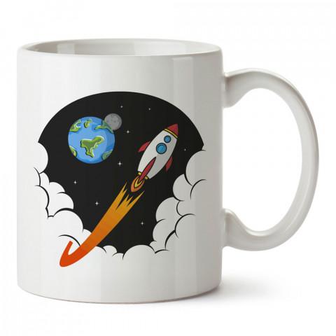 Dünya ve Uçan Roket tasarım baskılı kupa bardak (mug bardak). Uzay ve galaksi desenleri sevenlere hediye. Ay ve gezegen resimli kupa. Uzay meraklılarına hediyelik.