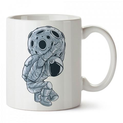 Atlas Heykeli Astronot tasarım baskılı kupa bardak (mug bardak). Uzay ve galaksi desenleri sevenlere hediye. Ay ve gezegen resimli kupa. Uzay meraklılarına hediyelik.