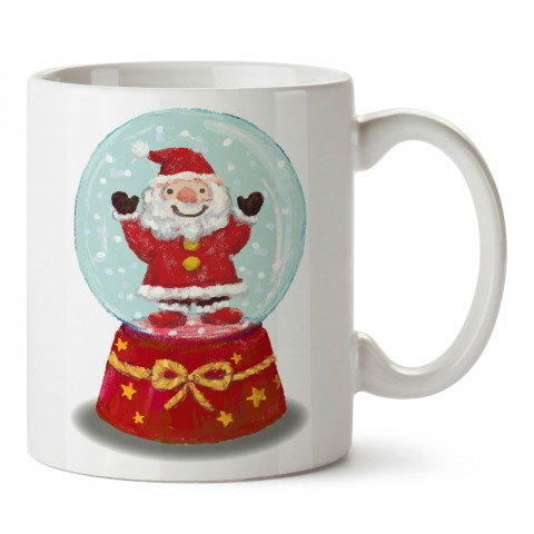 Sulu Boya Noel Baba Kar Küresi tasarım baskılı kupa bardak (mug bardak). Yılbaşı hediyesi kupa. En güzel yılbaşı hediyeleri. Yeni yıl için hediyelik ürünler.