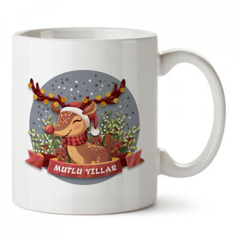 Mutlu Yıllar Ren Geyiği tasarım baskılı kupa bardak (mug bardak). Yılbaşı hediyesi kupa. En güzel yılbaşı hediyeleri. Yeni yıl için hediyelik ürünler. Yılbaşı tasarım.