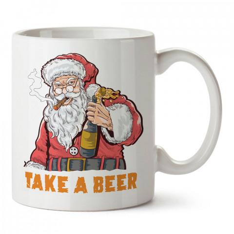 İçkiler Noel Babadan tasarım baskılı kupa bardak (mug bardak). Yılbaşı hediyesi kupa. En güzel yılbaşı hediyeleri. Yeni yıl için hediyelik ürünler. Yılbaşı tasarım.