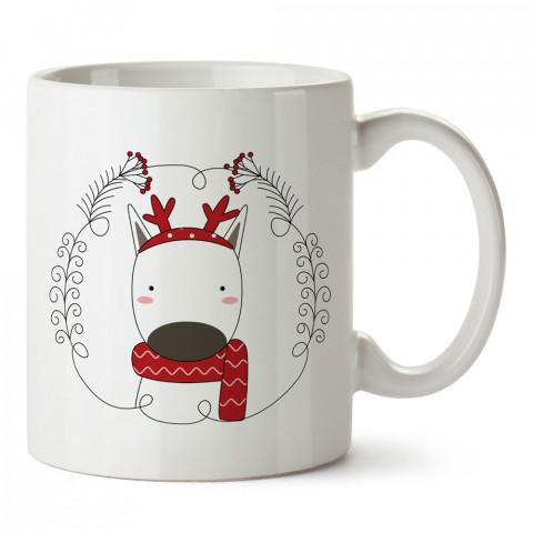 Minimal Çizim Geyik tasarım baskılı kupa bardak (mug bardak). Yılbaşı hediyesi kupa. En güzel yılbaşı hediyeleri. Yeni yıl için hediyelik ürünler. Yılbaşı tasarım.