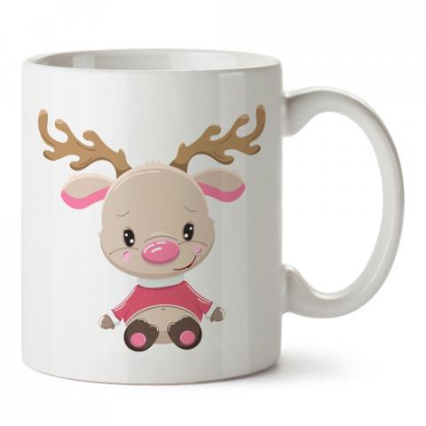 Yavru Yılbaşı Geyiği tasarım baskılı kupa bardak (mug bardak). Yılbaşı hediyesi kupa. En güzel yılbaşı hediyeleri. Yeni yıl için hediyelik ürünler. Yılbaşı tasarım.