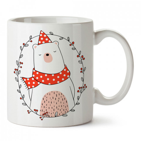 Yeni Yıl Şirin Ayı tasarım baskılı kupa bardak (mug bardak). Yılbaşı hediyesi kupa. En güzel yılbaşı hediyeleri. Yeni yıl için hediyelik ürünler. Yılbaşı tasarım.