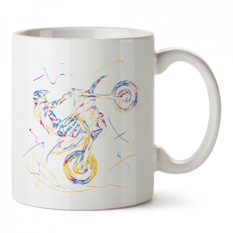 Çizim Motokros Motosiklet tasarım baskılı kupa bardak (mug). Motosikletçilere en güzel hediye kahve kupası. Motorcuya hediyelik ürünler.