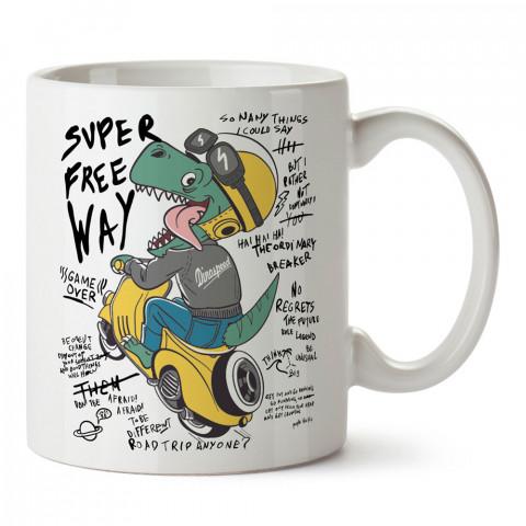 Motosikletçi Dinozor tasarım baskılı kupa bardak (mug). Motosikletçilere en güzel hediye kahve kupası. Motorcuya hediyelik ürünler.