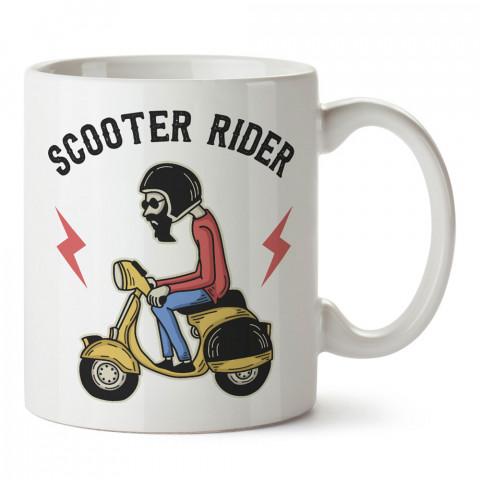 Scooter Motosiklet Sürücüsü tasarım baskılı kupa bardak (mug). Motosikletçilere en güzel hediye kahve kupası. Motorcuya hediyelik ürünler.